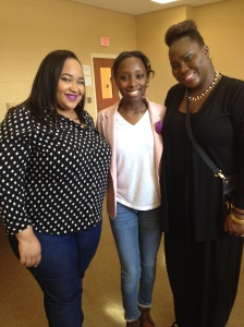 Jessica with the two wonderful makeup artists! Courtney (left) and Tamieka (right).