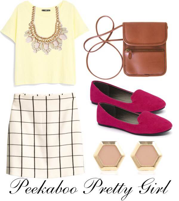 Mango Cotton T-Shirt: $11; HOUSEOFFRASER.CO.UK Skirt: $29; HM.COM Classic Ballet Flat Shoes: $9.99; ZULILY.COM Cream Triangle Stud Earrings: $12; RIVERISLAND.COM Faux Gem Statement Necklace: $8.90; FOREVER21.COM Vintage Small Brown Crossbody Handbag: $24; ESTY.COM