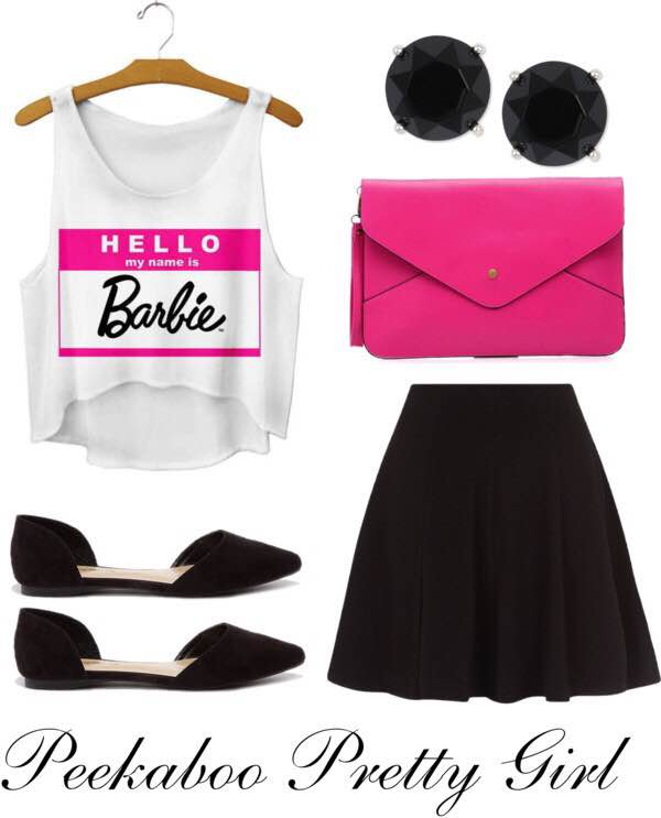 Hello Barbie Fashion Tank: $19; ETSY.COM Black Skater Skirt: $16; NEWLOOK.COM Black D'Orsay Flats: $21; LULUS.COM Pink Envelope Clutch: $17; YESSTYLE.COM Black Glass Stone Stud Earrings: $10; MACYS.COM