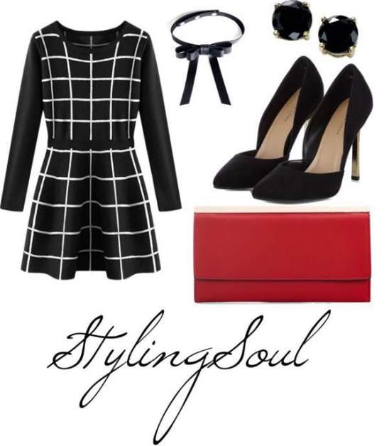 Plaid Knit Skater Dress: $39; pinkqueen.com Black Pumps: $35; newlook.com  Red Clutch: $15; newlook.com Black Studs: $10; macys.com Bow Chocker: $28; valfare.com