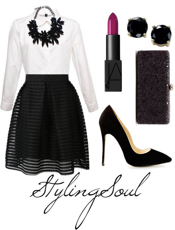 White button up: $23; stylemoi.nu Black midi skirt: $29; choies.com Black pumps: $15; prettylittlething.com Glitter clutch: $22; solessociety.com Black studs: $10; macys.com