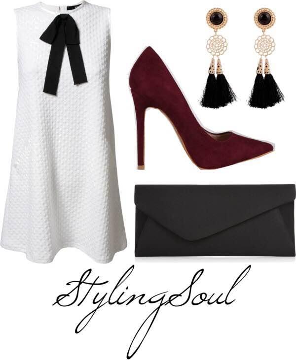 White bow dress: $44; tfnclondon.com Burgundy pumps: $35; teamshoeicide.com Black clutch: $24; accessorize.com Fringe earrings: $8.99; maykool.com