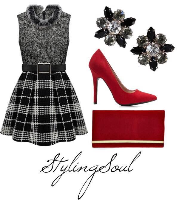 Fur collar plaid dress: $ 39; pinkqueen.com Red pumps: $30; charlotterusse.com Red clutch: $23; boohoo.com Cluster studs: $31; onekingslane.com