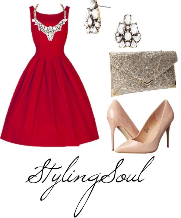 Pleated Red Dress: $20; ROTITA.COM Beige Heels: $35; 6PM.COM Clutch: $19; AMAZON.COM Necklaced: $30; SHAMLESSLYSPARKLY.COM Earrings: $12; BAUBLEBAR.COM
