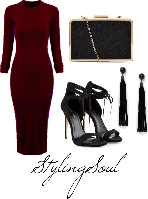 Wine Long Sleeve Split Back Bodycon Dress: $35; WHITCHIC.COM Black Tie Front Cut Out Heels: $25; NEWLOOK.COM Clutch: $24; NEWLOOK.COM Earrings: $8.93; ASOS.COM
