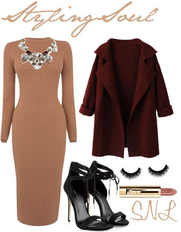 Wine Red Lapel Long Sleeve Knit Coat: WITHCHIC.COM Karen Millen Fine Gauge Cable Knit Dress: JOHNLEWIS.COM Crystal Statement Necklace: WHOLSALEFASHIONSHOES.COM Black Tie Front Cut Out Heels: NEWLOOK.COM Nude Lipstick: NYLON.COM Flutterfluff Black Raquel Mink Lashes: SOPHIESCLOSET.COM